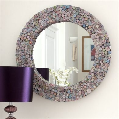 Image of Multicoloured Recycled Round Mirror
