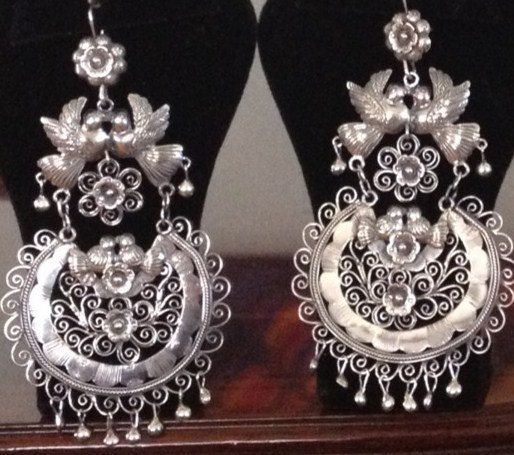 Mexican Mazahua Earrings  Frida Kahlo Kissing by PauletteAvila, $365.00