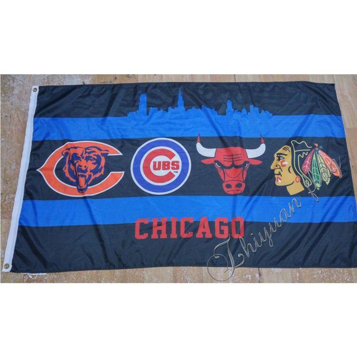 2016 Chicago Bears Chicago cubs Chicago Bulls Chicago Blackhawks Large Outdoor Flag 3X5FT Sport flag Custom Flag