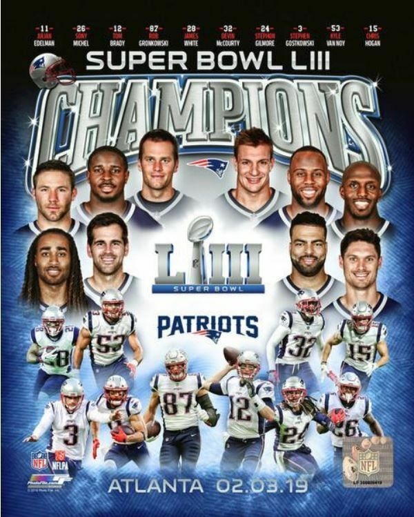 New England Patriots 2018 2019 Super Bowl 53 Champions 8x10 Team Composite Photo New England Patriots Patriots New England Patriots Football