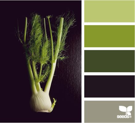 "Color palettes may be found straight from nature. Check out ""produced green"" by design-seeds.com"