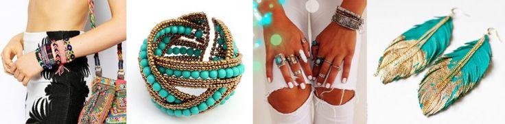 Gioielli Donna Boho Chic  C'è un'altro aspetto molto interessante: la corrente boho-hippy. Questi gioielli e accessori sono di solito lavori di artigianato. Potete trovare bracciali intrecciati, con perline, accessori con piume, anelli e ciondoli con simboli.