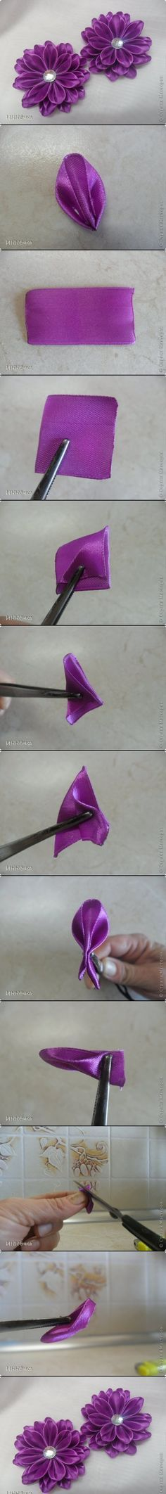 PURPLE RIBBON FLOWER DIY #craft #photos tutorial ++ FLOR HECHA DE CINTA INSTRUCCIONES EN FOTOS MANUALIDAD