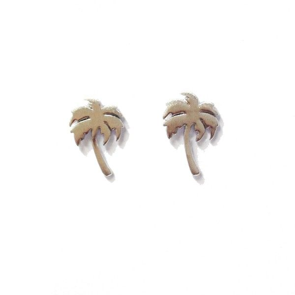 Palm Tree Silver Stud Earrings by Pigeonhole. http://aslanandleo.com/product/palm-tree-silver-stud-earrings-by-pigeonhole/