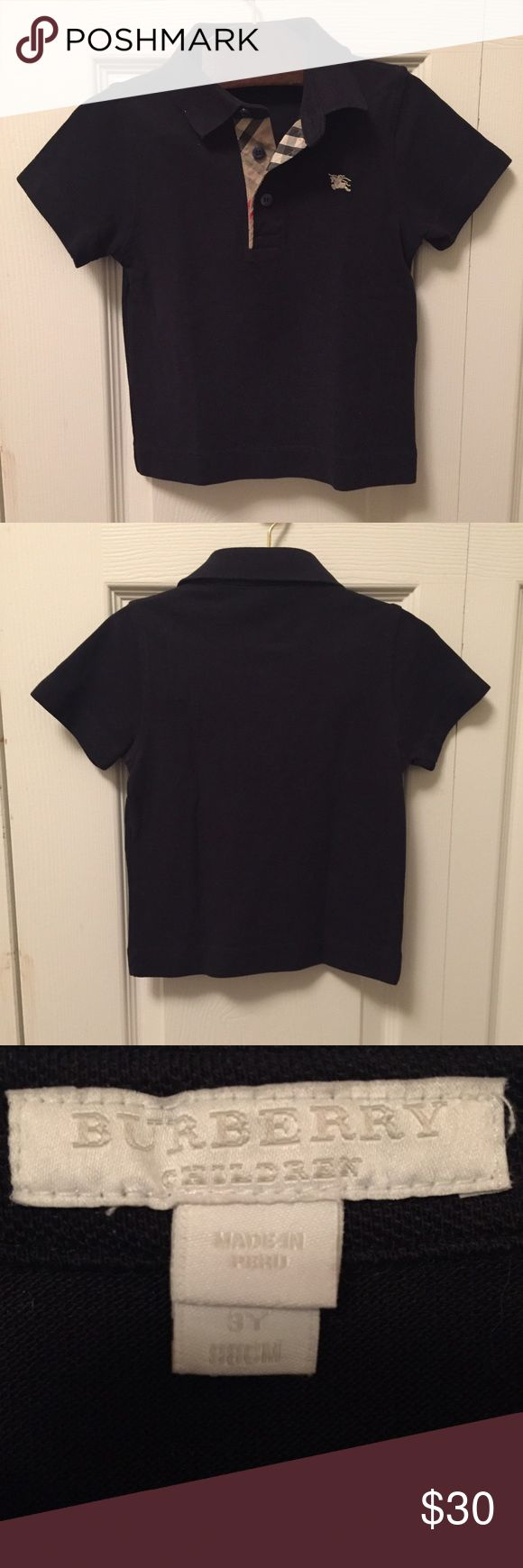 Burberry 3T black polo shirt Burberry toddler black polo shirt in 3T.  Excellent like new condition. Burberry Shirts & Tops Polos