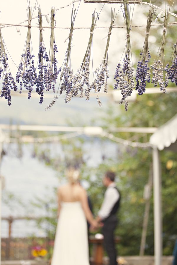 weding diys   outdoor-diy-wedding-ceremony-lavendar-décor the lavender could be the top of the wooden/tree branch arch you are standing under(white birch)