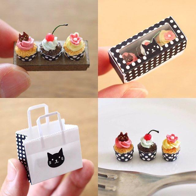 猫のカップケーキを今週末くらいにminneで販売します😸どうぞよろしくお願いします😊  #miniature  #miniaturefood  #miniaturesweets  #minne  #package  #papercraft  #cakes  #sweets  #kawaii  #handmade  #ミニチュア #ミニチュアスイーツ  #スイーツ #ミニチュアフード  #ミンネ #ミンネで販売予定  #紙袋  #ペーパークラフト #カップケーキ #ハンドメイド  #パッケージ  #樹脂粘土  #手作り  #猫  #ねこ #ネコ  #黒猫  #雑貨  #かわいい #みすみ工房