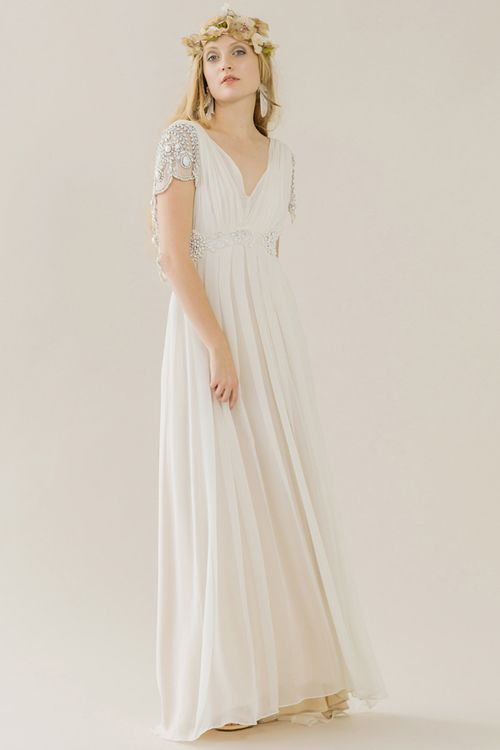 Sadi Dress Rue De Seine Silk Georgette Gown With A Full Skirt And Deep V Open Back Hand Embroidered Erfly Sleeve Detail D Bust Loose