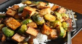 Tofu and Roasted Brussels Sprouts in a Sweet Chili Sauce