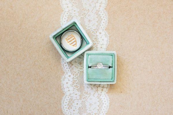 Solitaire Engagement Ring in Teal Velvet Ring Box