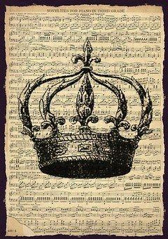 Vintage, Music, Sheet, Crown, Song