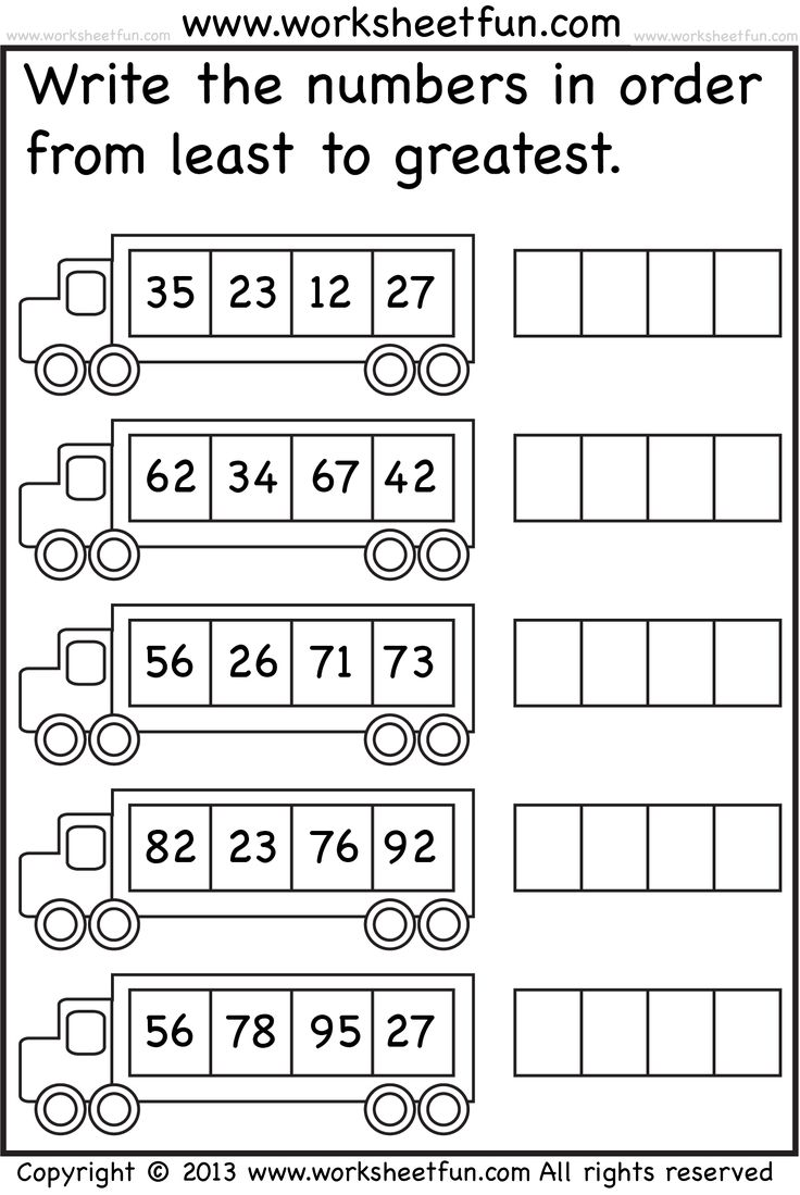 math worksheet : least to greatest worksheets for kindergarten  worksheets : Least To Greatest Fractions Worksheets