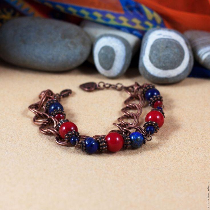 Купить Браслет Огонь и Вода, яркий браслет, красный, синий, бохо этно, коралл