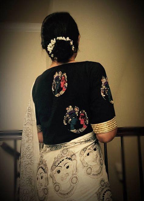Designer readymade saree blouse in black silk with Kalamkari