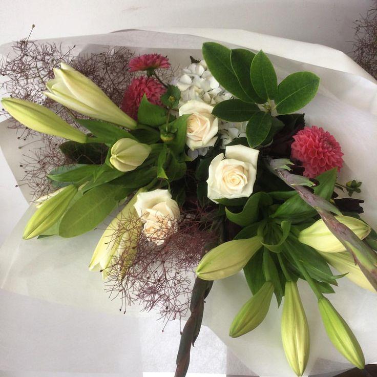 Wedding Anniversary Bouquet |  Peach Avalanche |  Lilies | Dahlia | Estelle Flowers |  Dunedin, NZ.