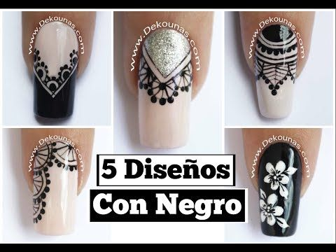 Decoracion de uñas FACIL flores y encaje - Lace and flowers easy nail art - YouTube