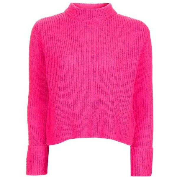 Topshop Petite Lofty Turnback Jumper (£34) ❤ liked on Polyvore featuring tops, sweaters, topshop tops, petite long sleeve tops, boxy sweater, petite sweaters and petite tops
