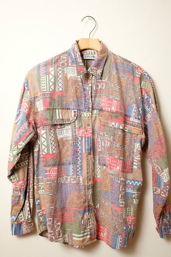 Vintage African Aztec Long Sleeved Shirt Size - Medium