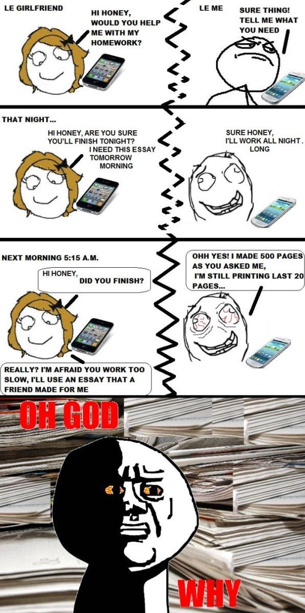 Rage Comics - Le Girlfriend Homework - www.funny-pictures-blog.com