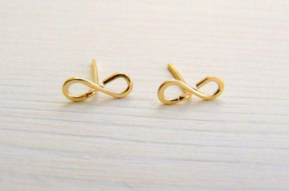 Infinity stud earrings. Gold infinity earrings. Gold by LirLir, $15.00