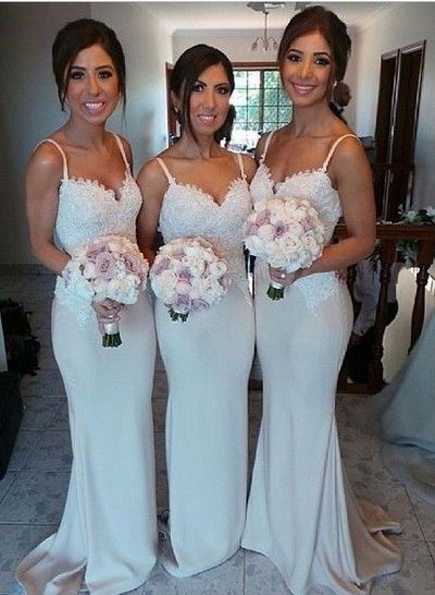 Mermeid bridesmaid dress,Spaghetti straps bridesmaid dress,long bridesmaid dress,beautiful bridesmaid dress,lace bridesmaid dress,dress for bridemaid B036