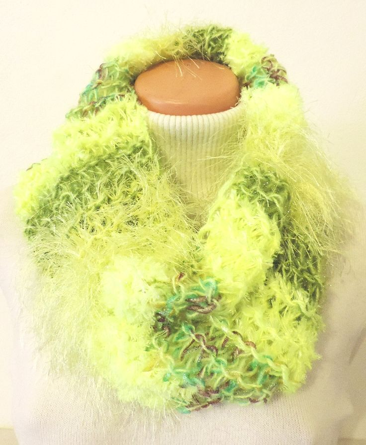 "Cowl, which you can wear around your neck. Thick and warm, many colors :-) Measurement: Scarflette length is ~ 23""x20"" (~ 60x52 cm.) Composition: - 10 % Wool, 20 % Acrylic, 35 % Micro Polyamide + 35 % Polyester - neon light green. Handmade with ♥ $11.72 USD"