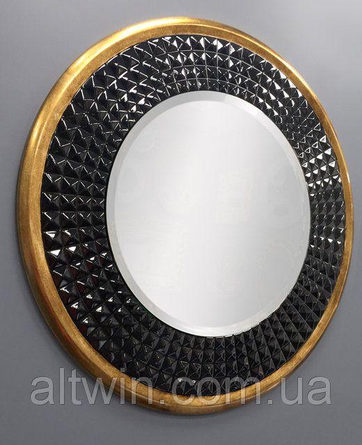Настенное круглое зеркало: Черная круглая рама зеркала в лотом кольце - настенные зеркала от Альтвин групп. Цена, зеркало под заказ и в наличии.