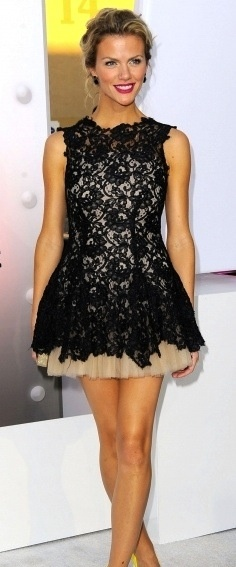 Creme with black lace short cupcake like dress...adorable