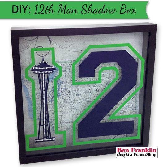 DIY Seahawks Inspired Space Needle and 12th Man Shadow Box | #SeahawksFan #GoHawks #crafts