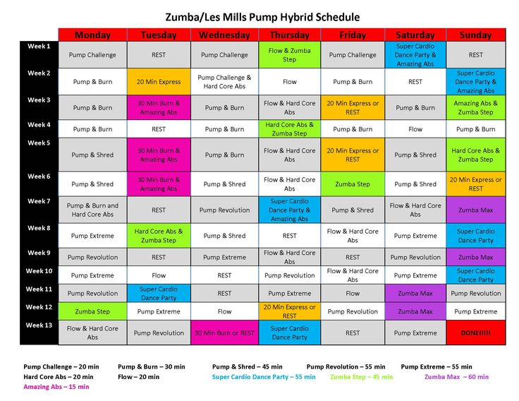 les mills pump schedule pdf