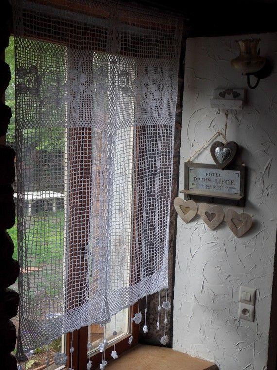 rideau au crochet xxl ribambelle de fleurs textiles and. Black Bedroom Furniture Sets. Home Design Ideas
