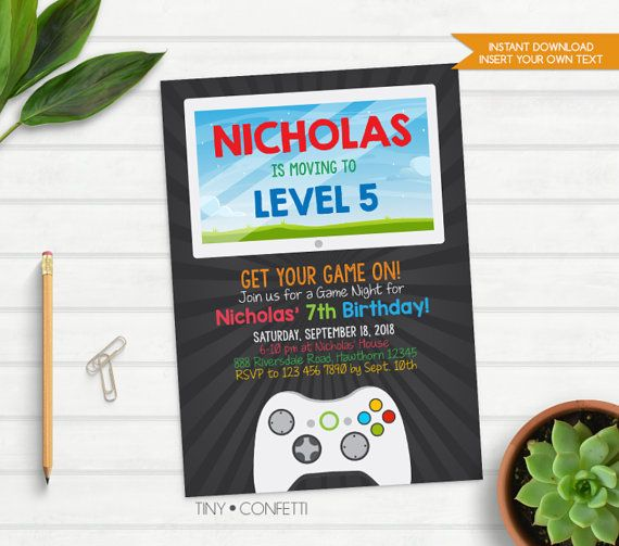 Video Game invitation, Video Game birthday invitation, Video Game party invitation, Video Game birthday party, decor, boy birthday, game on by TinyConfetti on Etsy