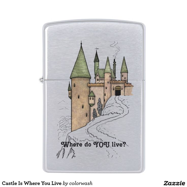 """Castle Is Where You Live Zippo Lighter - Wouldn't we all love living in a castle? Carry that dream on your pocket lighter, and if it amuses you, keep the text as is with its tongue-in-cheek question of, """"Where do YOU live?"""" You can also change it to say anything else you prefer. #Zippo #lighters"""