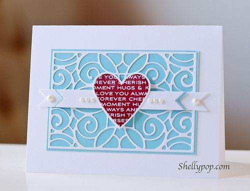 This would also make a nice invite. I like the background die cut laid over the colored cardstock.