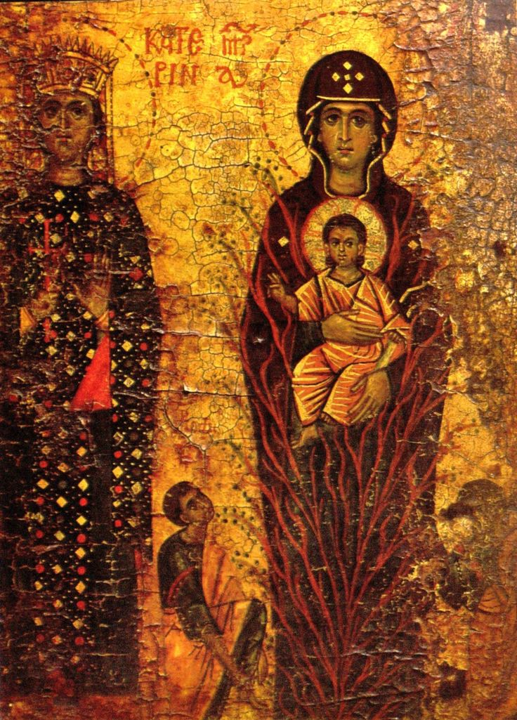 St. Catherine with the Virgin of the Burning Bush  13th century, Sinai :: acheiropoietos ::