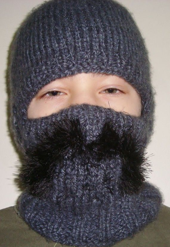 Knitted Hat Beanie Mustache Full Face Warmer Ski by earflaphats