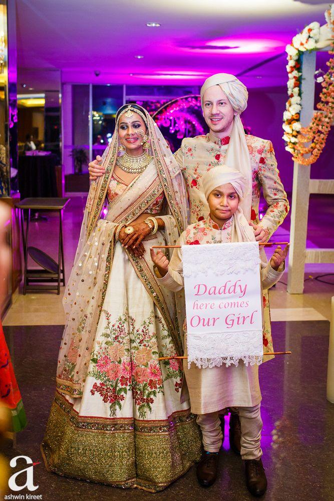 bridal Lehenga - Floral Silk Wedding Lehenga with Gold and Beige Detailing | WedMeGood #wedmegood #indianbride #indianwedding #bridal #lehenga #bridallehenga #sabyasachi