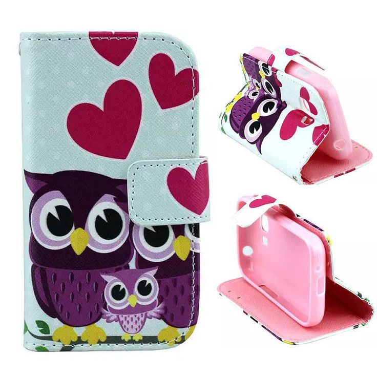 Owl Family Wallet Leather Case Cover For Samsung Galaxy Young 2 G130 #NEW