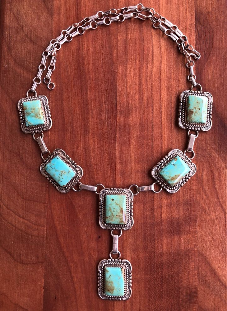 Stunning Signed Will Denetdale Navajo Sterling Silver & Turquoise Necklace