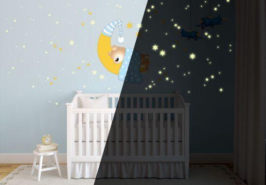 Adesivi murali - Adesivo murale - Orsacchiotto luna e stelle (blu) + stelle luminose