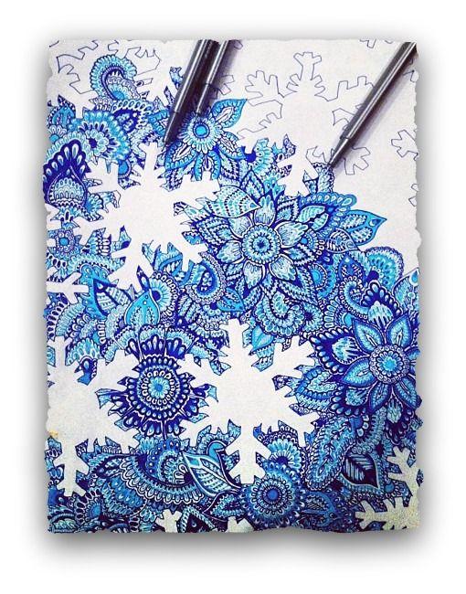 flower/snowflake zentangle inspo