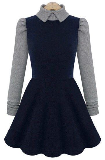 Navy Contrast Long Sleeve Pleated Dress - Sheinside.com