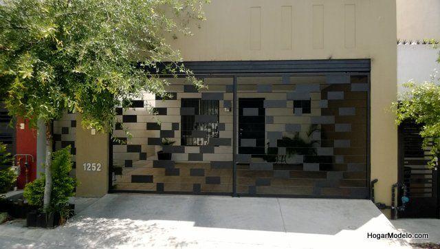 Puerta de garage contempor nea con dise o de cuadros de - Puertas para garage ...