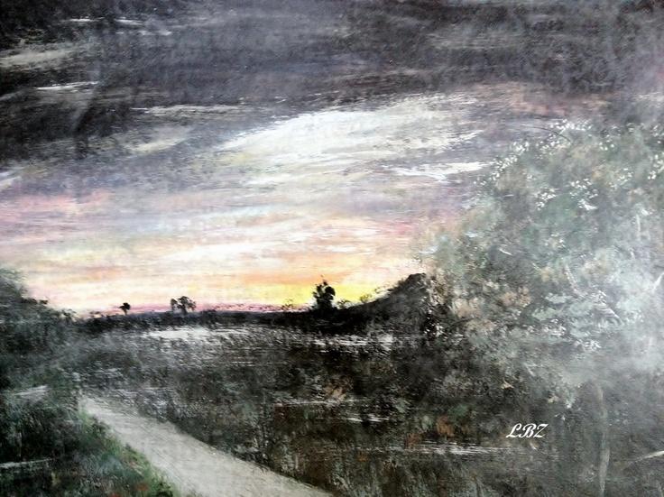 """Moonlit Meadow""  Acrylic on Canvas Board  06/02/2012"