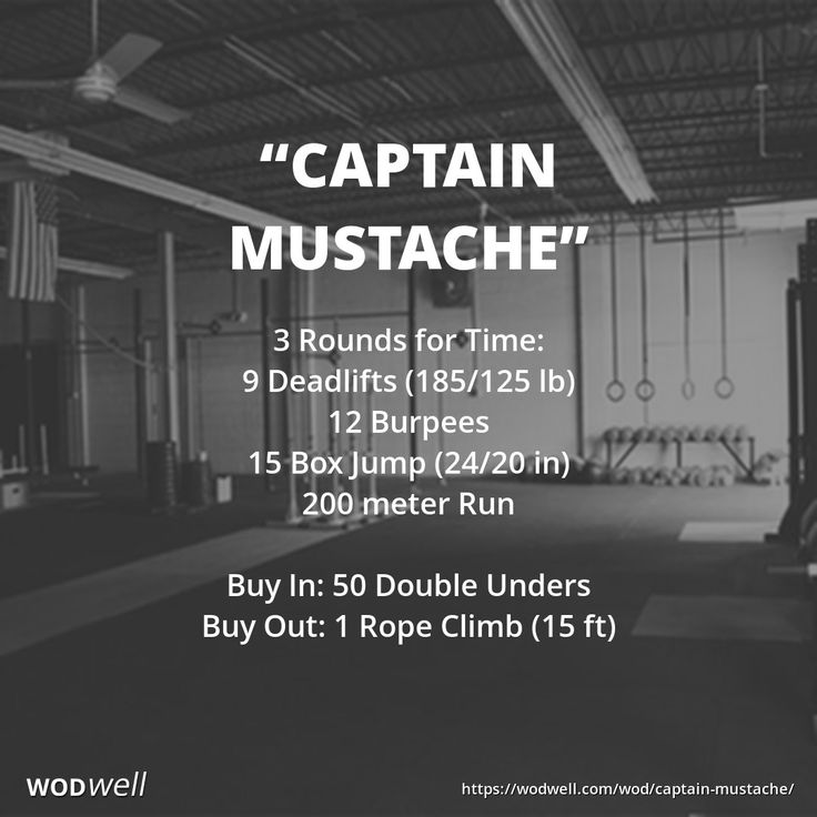 """Captain Mustache"" WOD - 3 Rounds for Time: 9 Deadlifts (185/125 lb); 12 Burpees; 15 Box Jump (24/20 in); 200 meter Run; Buy In: 50 Double Unders; Buy Out: 1 Rope Climb (15 ft)"
