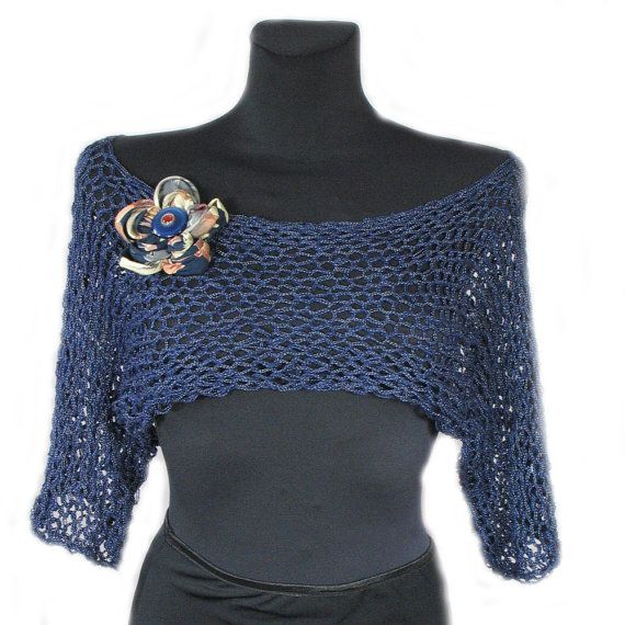 Summer Shrug Knitting Pattern : Summer, Cropped Sweater, Brooch - Gift,Knitted Vest,Shrug,Blue,Knitwe?