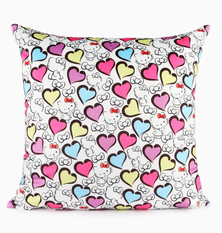 Hello Kitty and colorful hearts cover this supercute throw cushion. You will be wowed by the softness of this fleece pillow while it adds instant cuteness to your bedroom or living room decor.