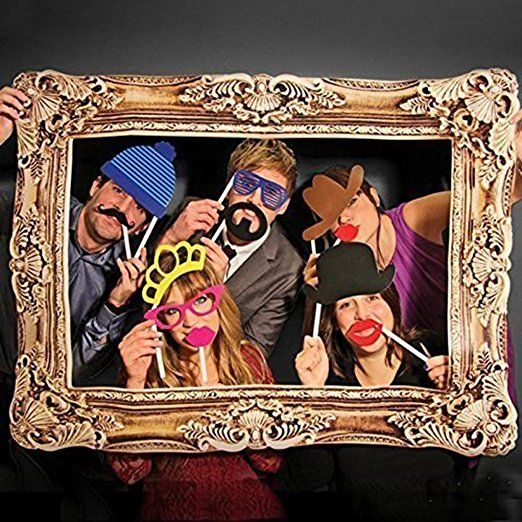 Rzctukltd Photo Booth Large Picture Frame And 24PCS Photo Props Funny Faces Party Fun
