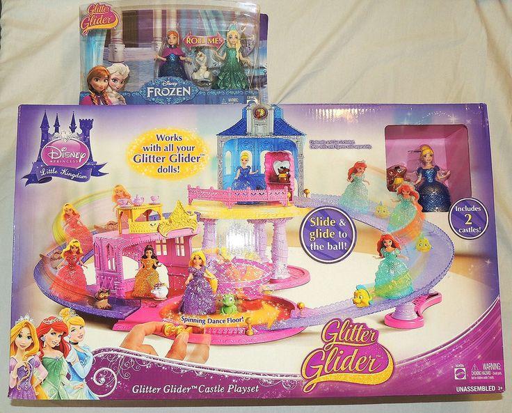 NEW Disney Glitter Glider Castle, Cinderella, Frozen Anna, Elsa Magic Clip Doll #Disney