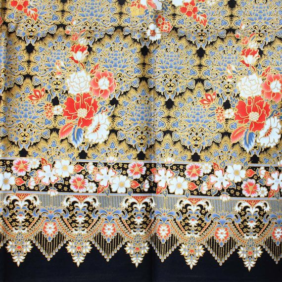 red flowers gold print  and  gray  vintage  traditional by 18dec, $25.00